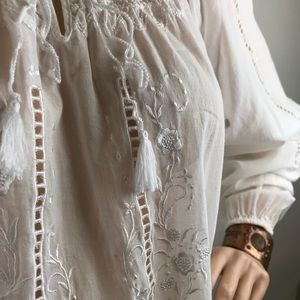 CAbi White Peasant Blouse with Embroidery